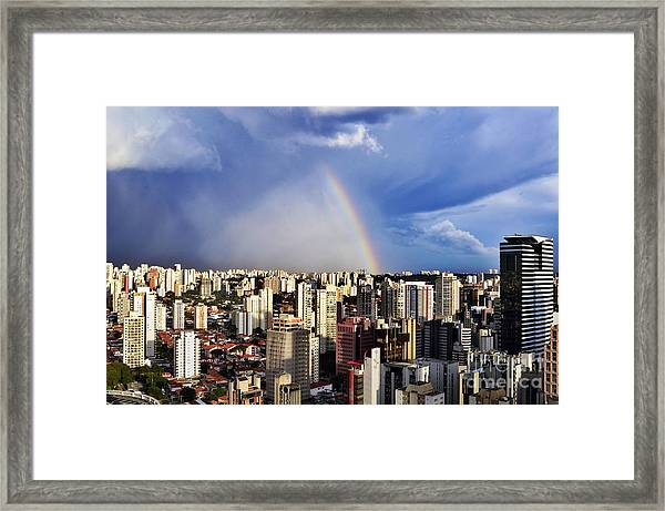 Rainbow Over City Skyline - Sao Paulo Framed Print