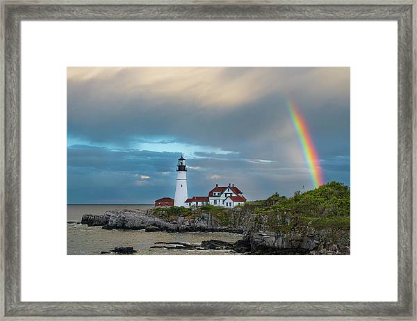 Rainbow Over Portland Head Light Framed Print