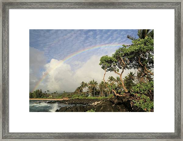 Rainbow Over The Beach Framed Print