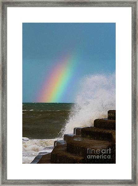 Rainbow Over The Crashing Waves Framed Print