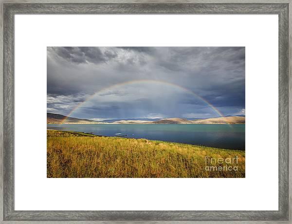 Rainbow Over Topaz Lake Framed Print