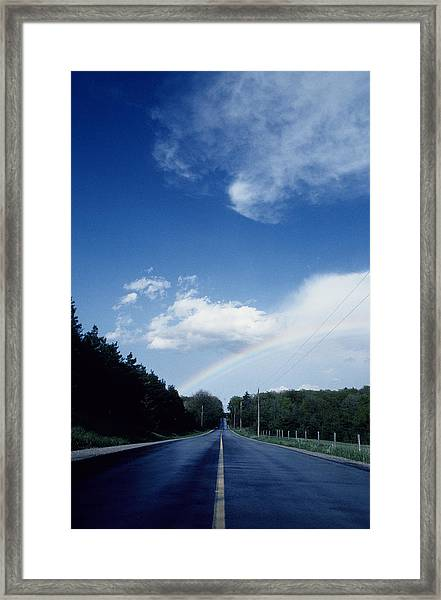 Rainbow Road Blue Sky Framed Print