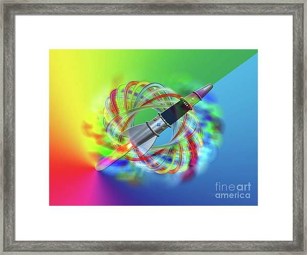 Rainbow Rocket Orbits Framed Print