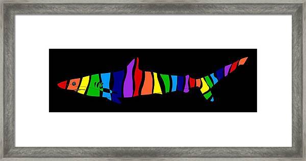 Rainbow Shark Framed Print