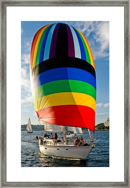 Rainbow Spinaker Framed Print by Tom Dowd