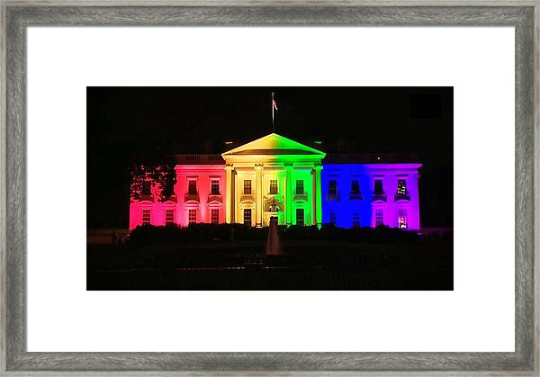 Rainbow White House Framed Print
