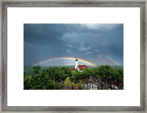 Rainbow X 2 At Portland Headlight Framed Print