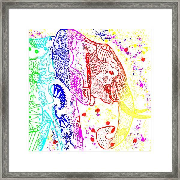 Rainbow Zentangle Elephant Framed Print