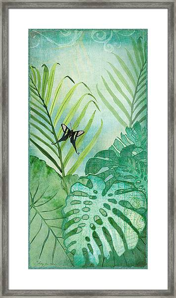 Rainforest Tropical - Philodendron Elephant Ear And Palm Leaves W Botanical Butterfly Framed Print