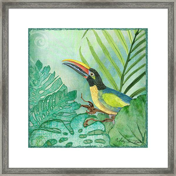 Rainforest Tropical - Jungle Toucan W Philodendron Elephant Ear And Palm Leaves 2 Framed Print