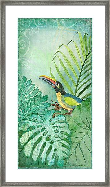 Rainforest Tropical - Tropical Toucan W Philodendron Elephant Ear And Palm Leaves Framed Print