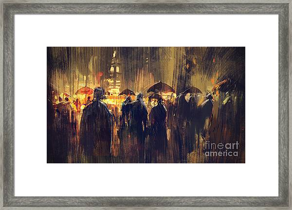Framed Print featuring the painting Raining by Tithi Luadthong