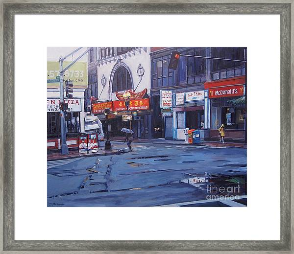 Rainy Day In Boston Framed Print