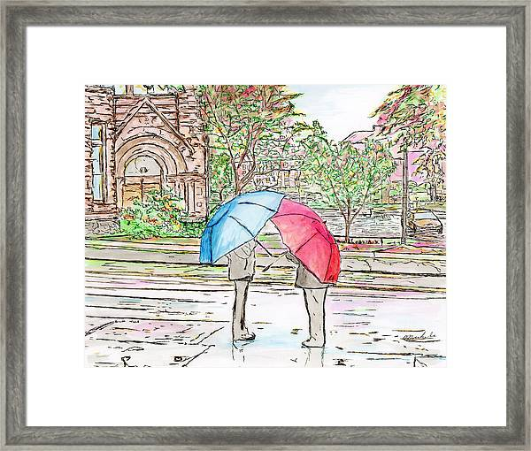 Rainy Day In Downtown Worcester, Ma Framed Print