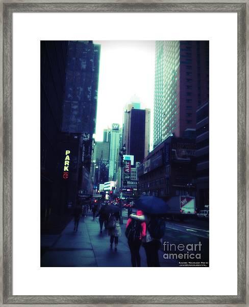 Framed Print featuring the photograph Rainy Day New York City by Rachel Maynard