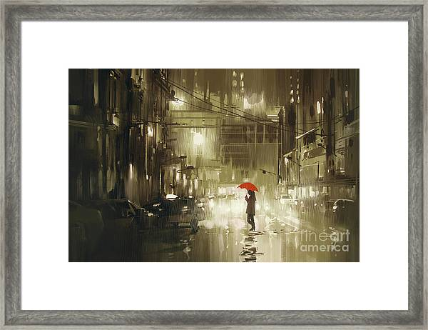 Framed Print featuring the painting Rainy Night by Tithi Luadthong