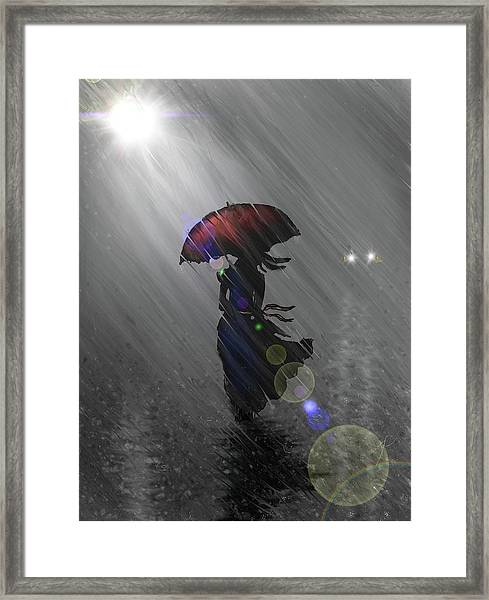 Rainy Walk Framed Print