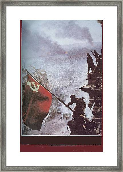 Raising The Soviet Flag  On The Reichstag Building Berlin Germany May 1945 Framed Print