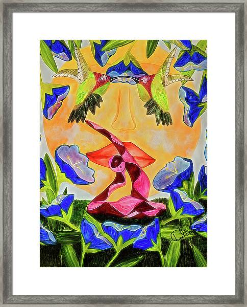 Framed Print featuring the painting Rajakapotasana by Dee Browning