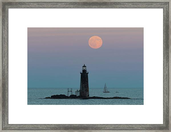Ram Island Light Buck Moon And Sailboat Framed Print
