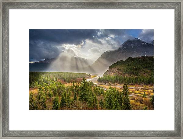 Range Of Light // Many Glacier Valley, Glacier National Park  Framed Print