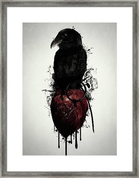 Raven And Heart Grenade Framed Print