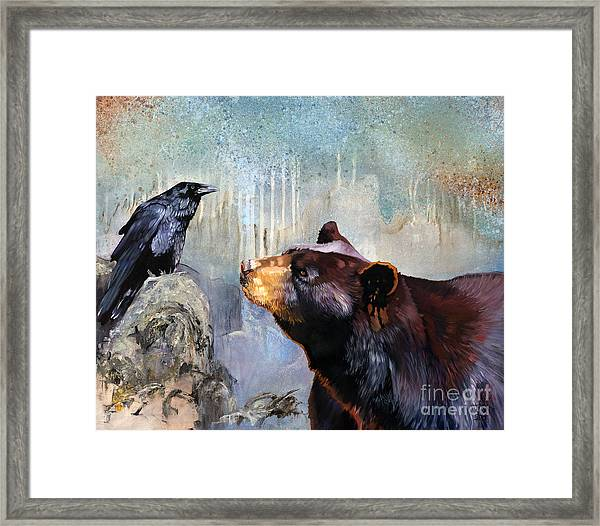 Raven And The Bear Framed Print