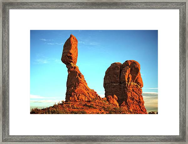 Raven Balanced On A Rock Framed Print