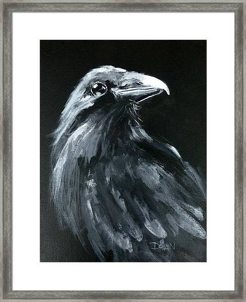 Raven Looking Right Framed Print