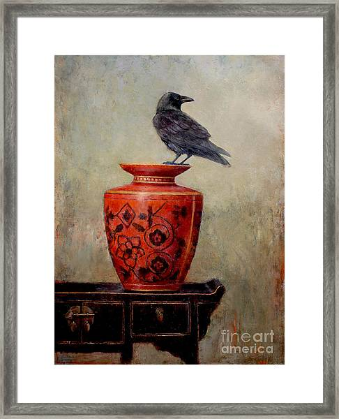Raven On Red  Framed Print