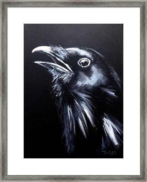 Raven Warning Framed Print