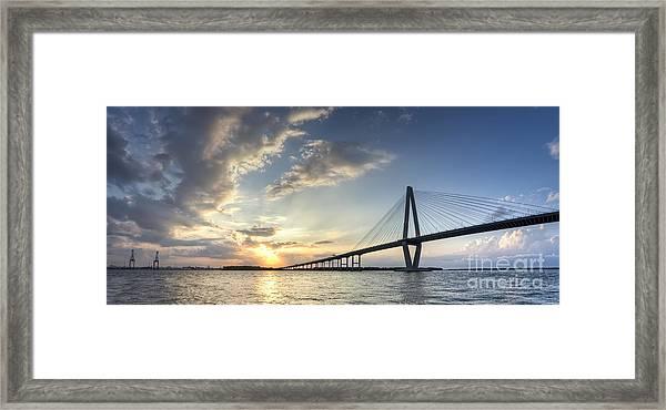 Ravenel Bridge Cooper River Sunset Framed Print