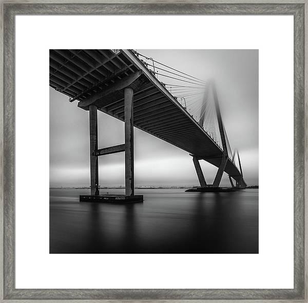 Ravenel Bridge November Fog Framed Print