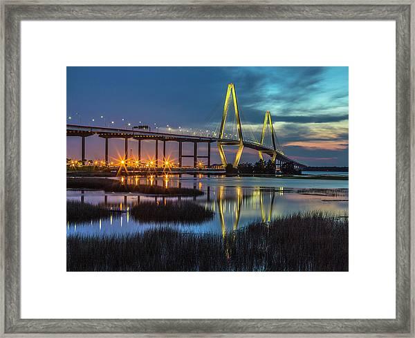 Ravenel Bridge Reflection Framed Print