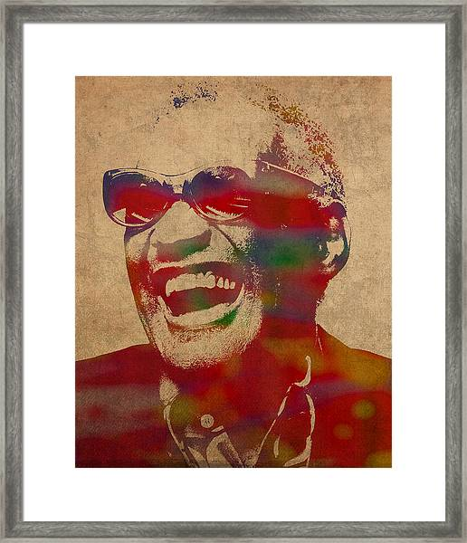 Ray Charles Watercolor Portrait On Worn Distressed Canvas Framed Print