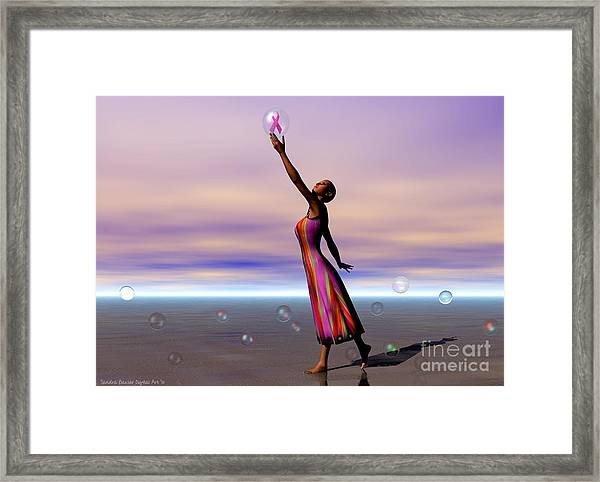 Reaching For A Cure Framed Print by Sandra Bauser Digital Art
