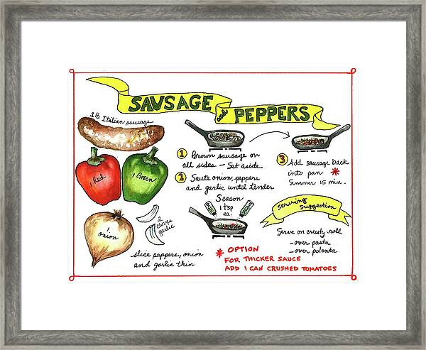Recipe Sausage And Peppers Framed Print