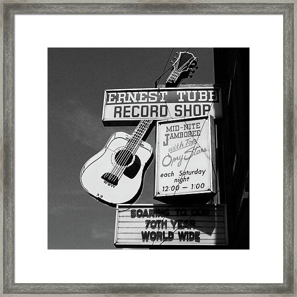 Record Shop- By Linda Woods Framed Print