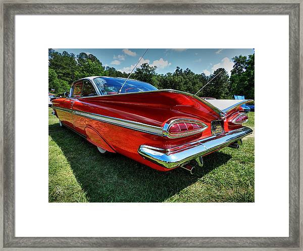 Framed Print featuring the photograph Red '59 Impala 001 by Lance Vaughn
