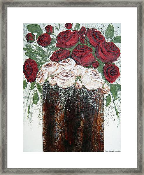 Red And Antique White Roses - Original Artwork Framed Print