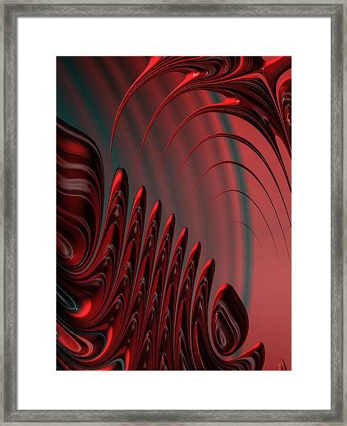 Red And Black Modern Fractal Design Framed Print