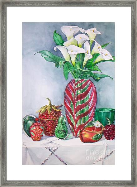 Red And Green Composition Framed Print