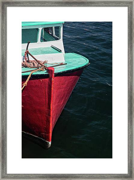 Red And Turquoise Fishing Boat Framed Print