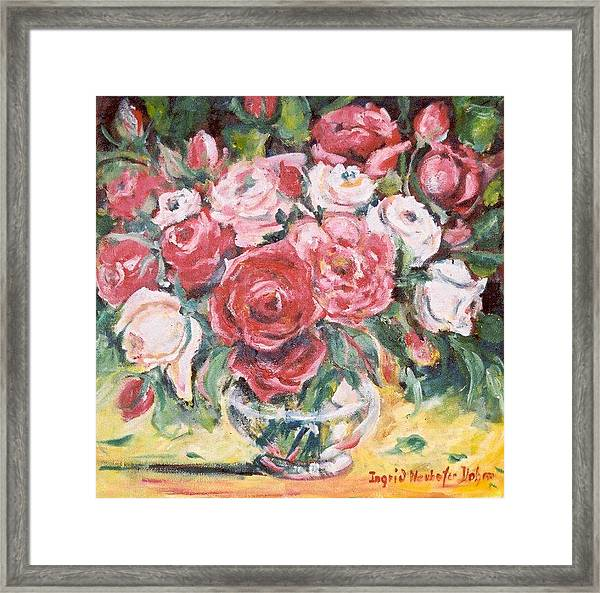 Red And White Roses Framed Print