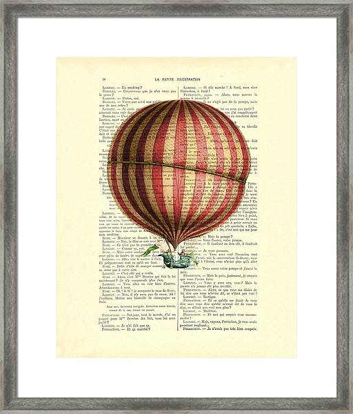 Red And White Striped Hot Air Balloon Antique Photo Framed Print