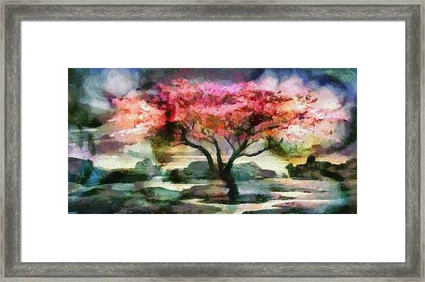 Red Autumn Tree Framed Print