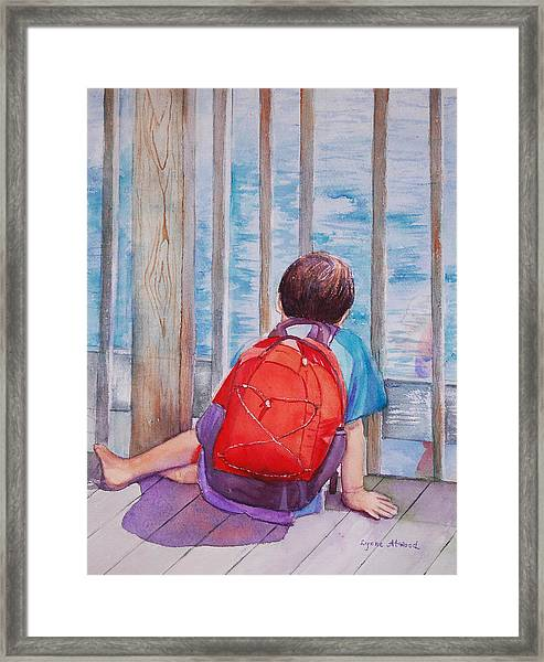 Red Backpack Framed Print