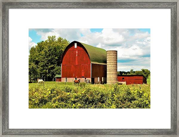 0040 - Red Barn And Horses Framed Print