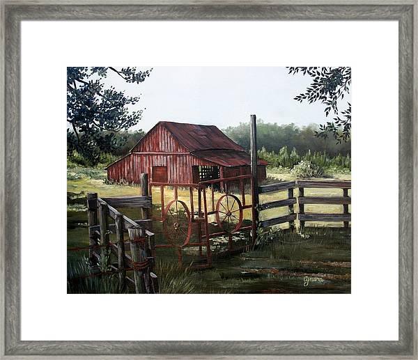 Red Barn At Sunrise Framed Print