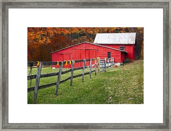 Red Barn In Autumn - Framed Print
